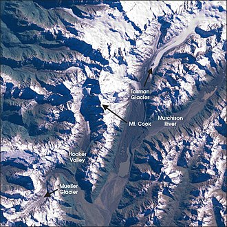 Mueller Glacier - Satellite picture of the Mount Cook region, identifying the Mueller Glacier in the bottom left.