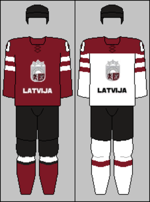Latvia men's national ice hockey team - Image: Latvia national hockey team jerseys 2014 Winter Olympics