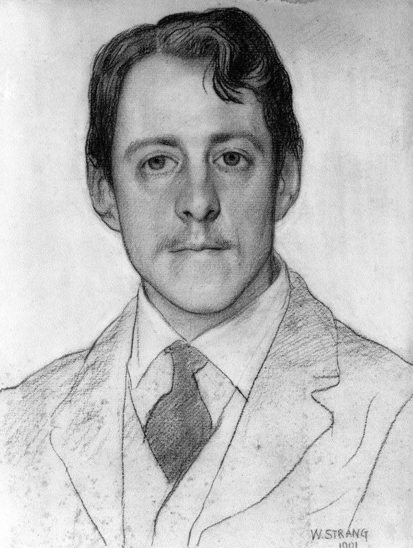 Drawing of Laurence Binyon by William Strang, 1901