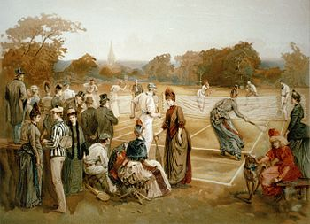 English: Lawn tennis, 1887. Print. Published i...