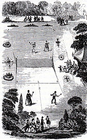 view of an hourglass-shaped lawn tennis court in 1874