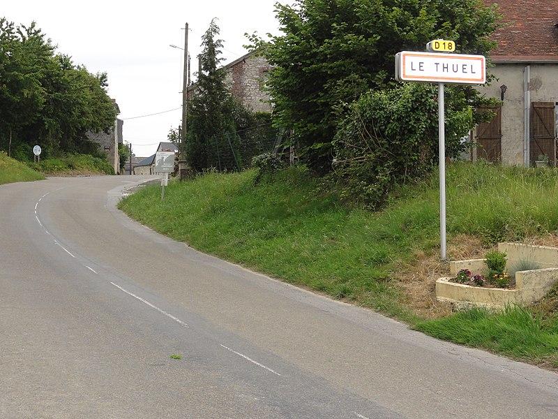 Le Thuel (Aisne) city limit sign