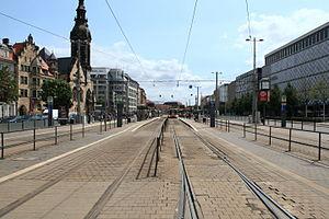 Leipziger Verkehrsbetriebe - Goerdelerring tramway station, served by 87 trams per hour during weekdays.