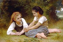 Painting of two girls sitting on the ground