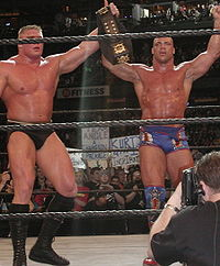 Angle and Brock Lesnar after their WWE Championship title match at WrestleMania XIX.