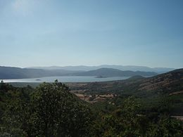 Lesser Lake Prespa with Agios Achillios island, Florina prefecture, Greece - seen from National Road 15 (southwest) - 01.jpg
