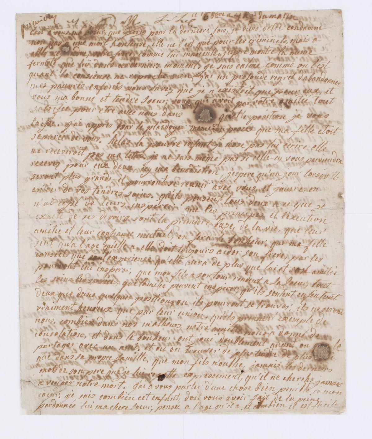 File Lettre De Marie Antoinette A Madame Elisabeth Page 1