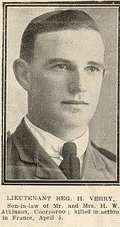 Lieutenant Reginald Herbert Verry, one of the soldiers photographed in The Queenslander Pictorial supplement to The Queenslander 1918.jpg