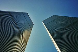 "Mechanical floor - The former World Trade Center twin towers. The ""dark bands"" were vents for the mechanical floors."