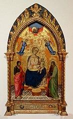 Vierge à l'enfant sur un trône avec saint Jean-Baptiste et saint Pierre, deux anges et le Père bénissant