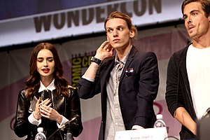 Jamie Campbell Bower - Lily Collins, Bower, and Kevin Zegers at the 2013 WonderCon