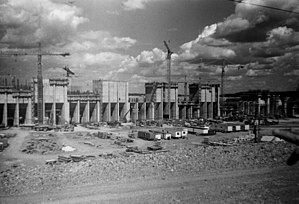 Manitoba Hydro - Manitoba Hydro Limestone Generating Station during construction, about 1987.