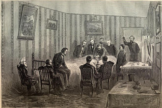 Petersen House - Image: Lincoln at his death bed