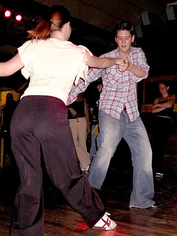 Social dancing in Davis, California, USA (2003).