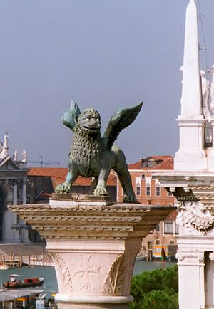 Lion of Venice - The Lion seen from the Doges Palace.