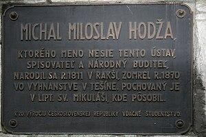 Michal Miloslav Hodža - Plaque dedicated to Michal Miloslav Hodža in Liptovský Mikuláš.