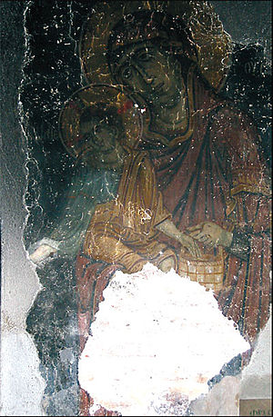 Hate crime - A photograph of the famous fresco Bathing of the Christ, after being vandalized by a Kosovo Albanian mob during the 2004 unrest in Kosovo