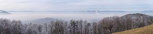 Ljubljana Basin - Ljubljana Basin in mist, view to east from Javor hill.