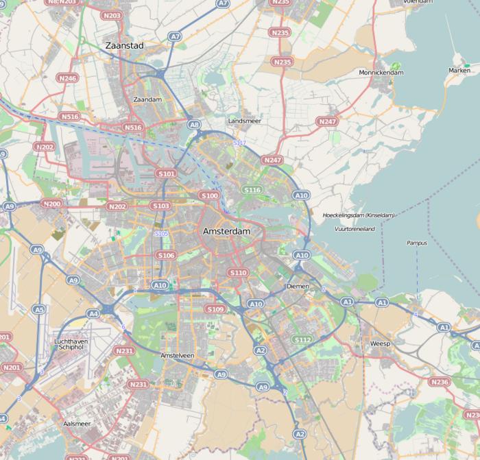 Карта региона Амстердам с обозначенными олимпийскими объектами