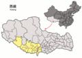 Location of Bainang within Xizang (China).png
