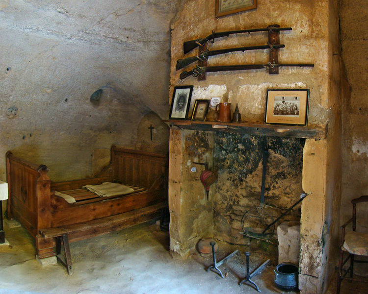 Rochemenier troglodytic farms, Maine-et-Loire, Pays de la Loire, France. Dwelling interior.
