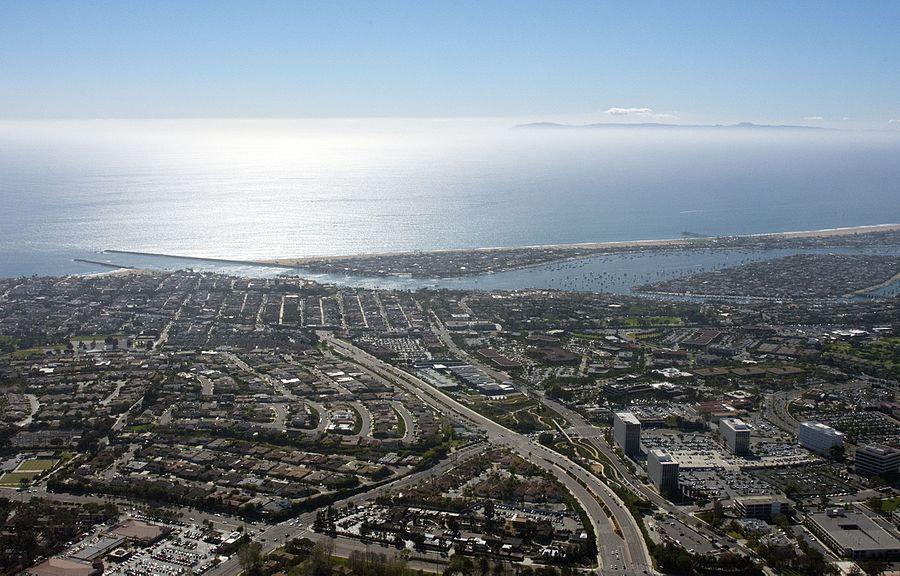 Looking down MacArthur BLVD in Newport Beach