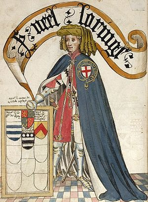 "Knowstone - ""Sr Neel Loringe"": Sir Nele Loring, KG, shown wearing his garter robes over his tunic showing the arms: Quarterly argent and gules, a bendlet engrailed sable. Illustration from the 1430 ""Bruges Garter Book"" made by William Bruges (1375–1450), first Garter King of Arms"