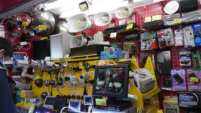 File:Loudspeakers and Security Cameras - TOMOCA Electronics shop, My Way, Akihabara (2011-03-11 10.46.26 by Hikosaemon).jpg