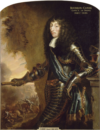 Louis, Prince of Conde (1621-1686); Vauban began his career with Conde during the 1650-1653 Fronde des nobles Louis, Grand Conde.PNG