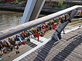 Love padlocks on Southbank footbridge June 2014.jpg