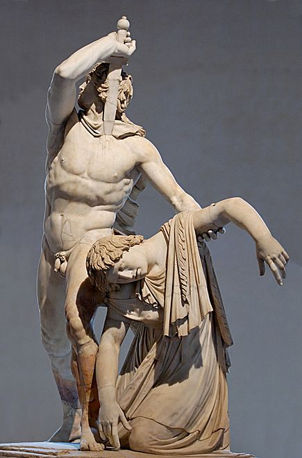 The Ludovisi Gaul killing himself and his wife, Roman copy after the Hellenistic original, Palazzo Massimo alle Terme. Ludovisi Gaul Altemps Inv8608 n3.jpg