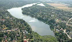 Aerial view with Falkensee lake