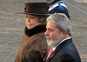 Noordeinde Palace - Queen Beatrix and Brazilian president Lula at the Noordeinde Palace during his visit to the Netherlands