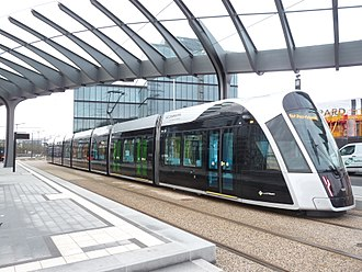 Trams in Luxembourg - An Urbos3 tram, operational since Dec. 2017, at Luxexpo stop.