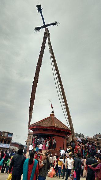 Bhaktapur - Lingo erected in Bisket Jatra,2015