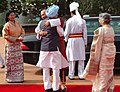 Lyonchen Jigmi Y. Thinley and his wife Mrs. Lyonchen Jigmi Y. Thinley are being warmly welcomed by the Prime Minister, Dr. Manmohan Singh and his wife Smt. Gursharan Kaur at a ceremonial reception at Rashtrapati Bhavan.jpg