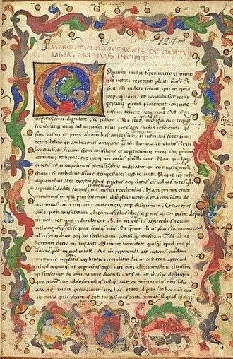 De Oratore - First page of a miniature of Cicero's De oratore, 15th century, Northern Italy, now at the British Museum