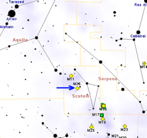 Messier 26 - Map showing location of M26 (Roberto Mura)