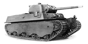 M6 heavy tank - M6A1; note the angular welded hull