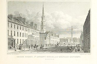 George Street, Edinburgh - The east end of George Street with St Andrew's Church, and Lord Melville's Monument, c. 1829