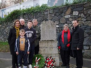 Martin Savage - 12 December 2009 - Relatives of IRA Volunteer Martin Savage pictured at a commemoration to mark the 90th anniversary of his death. Also pictured are Sinn Féin Vice President Mary Lou McDonald and Dublin West representative Paul Donnelly