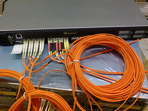 Storage area network -  Qlogic SAN-switch with optical Fibre Channel connectors installed.