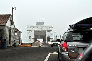 Cross Sound Ferry - MV John H offloading up at Orient.