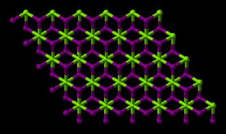 Magnesium iodide - Image: Magnesium iodide xtal single layer 3D balls