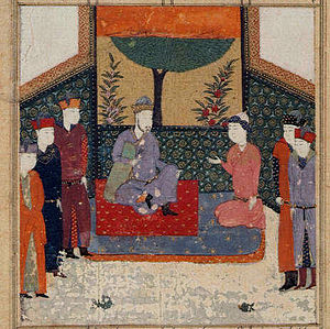 Attar of Nishapur - Ayaz kneeling before Sultan Mahmud of Ghazni. A miniature painting made in the year 1472, is used to illustrate the six poems by Attar of Nishapur.