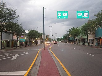 U.S. Route 50 in Colorado - US 50 in Lamar approaching the intersection with US 385 and US 287
