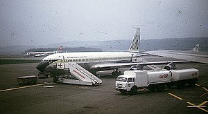 A Malaysia-Singapore Airlines Boeing 707 at Zu...