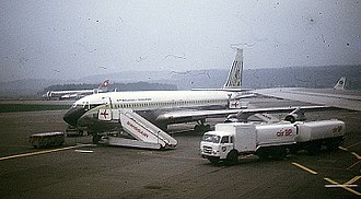 Malaysia Airlines - An MSA Boeing 707 at Zürich-Kloten Airport in 1972.