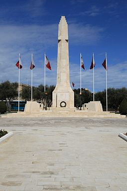The War Memorial in Floriana, Malta was built in 1938 commemorating the dead of World War I. In 1949 it was rededicated to commemorate the fallen of both world wars. Malta - Floriana - Triq Sant' Anna - War Memorial 02 ies.jpg