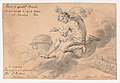 Man Sitting on a Cloud Above a Battlefield, Pointing to a Globe MET DP145140.jpg